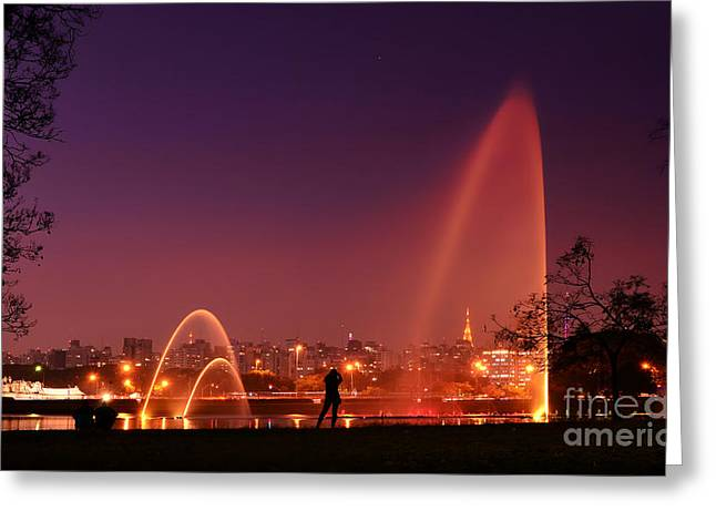 Sao Paulo - Ibirapuera Park At Dusk - Contemplation Greeting Card