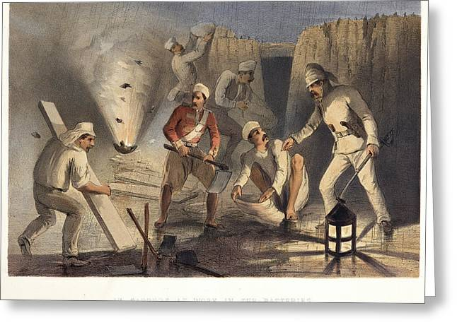 Sappers At Work In The Batteries Greeting Card by British Library
