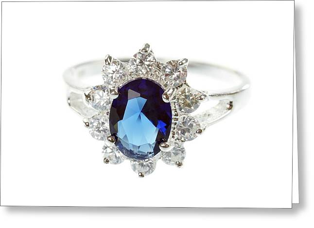 Sapphire Ring Greeting Card by Science Photo Library