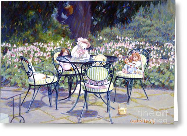 Sarah Marshall Serves Tea Greeting Card by Candace Lovely