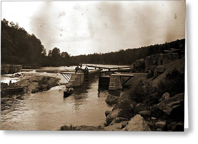 Saranac River Dam And Lock, Adirondack Mtns Greeting Card by Litz Collection