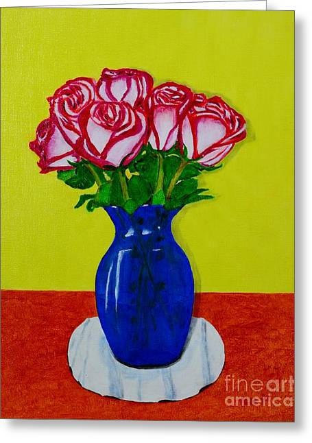 Sara's Roses Greeting Card by Melvin Turner