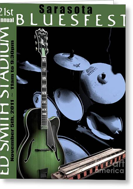 Greeting Card featuring the digital art Sarasota Bluesfest-green by Megan Dirsa-DuBois