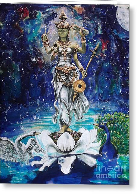 Saraswati Greeting Card by Silk Alchemy