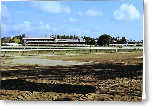 Saratoga Racecourse At Saratoga Greeting Card by Panoramic Images
