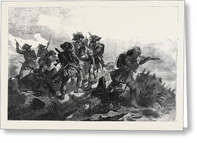 Sardinian Chasseurs Rescuing The Body Of Their Commander Greeting Card