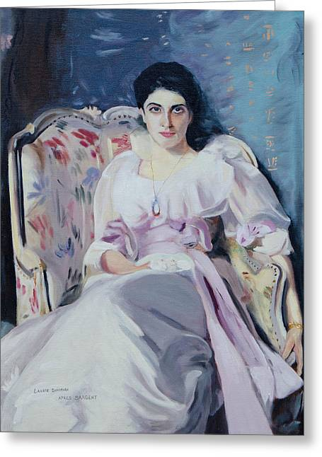 Sargent's Lady Agnew Copy Greeting Card by Laurie Donophan