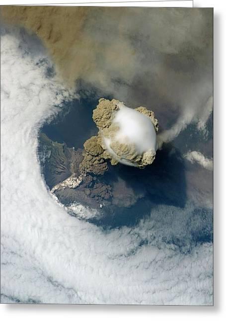 Sarychev Volcano Greeting Card by Nasa/science Photo Library