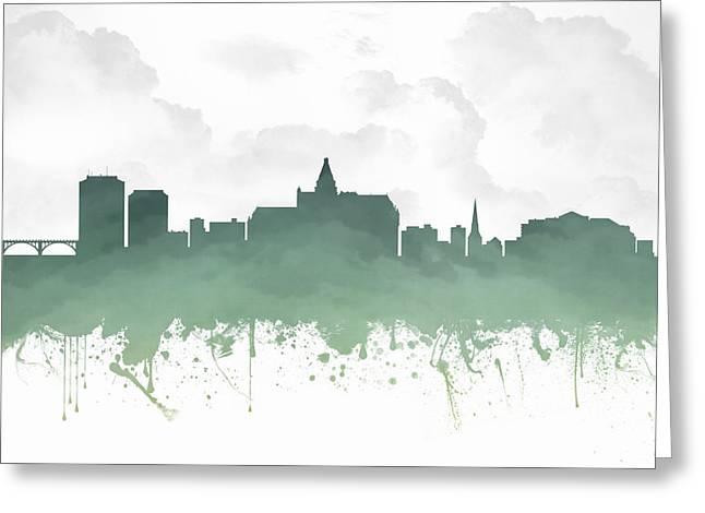 Saskatoon Saskatchewan Skyline - Teal 03 Greeting Card by Aged Pixel