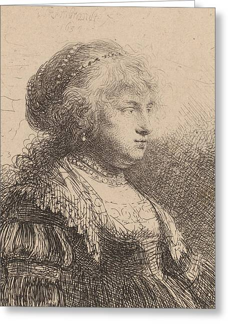 Saskia With Pearls In Her Hair Greeting Card by Rembrandt