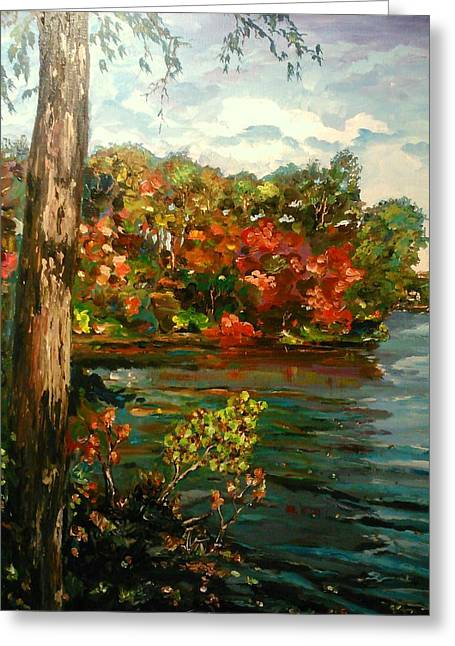 Greeting Card featuring the painting Sassaquin Pond by Ray Khalife