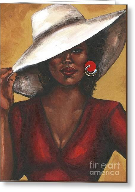 Greeting Card featuring the painting Sassy by Alga Washington