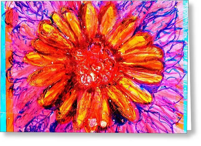 Sassy Bright Greeting Card by Anne-Elizabeth Whiteway