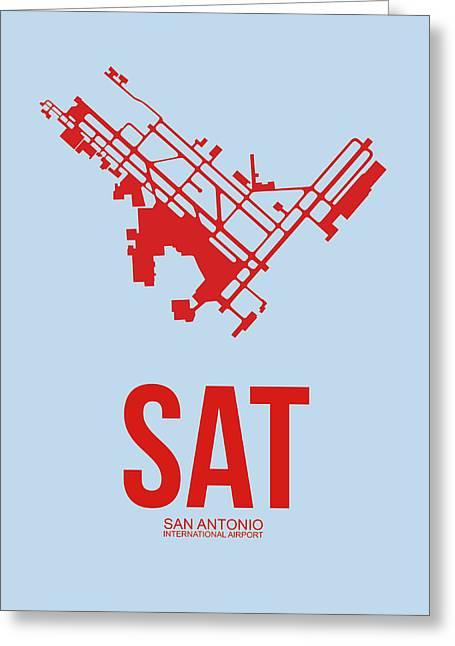 Sat San Antonio Airport Poster 1 Greeting Card by Naxart Studio