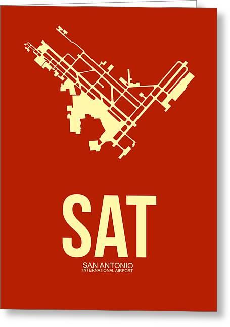 Sat San Antonio Airport Poster 2 Greeting Card by Naxart Studio