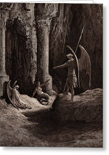 Satan At The Gates Of Hell Greeting Card by Litz Collection