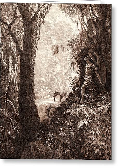 Satan In Paradise, By Gustave DorÉ. Gustave Dore Greeting Card