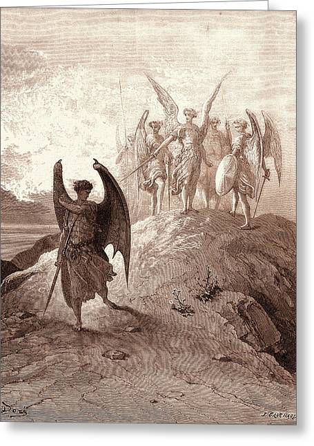 Satan Vanquished, By Gustave Dore. Dore, 1832 - 1883 Greeting Card by Litz Collection
