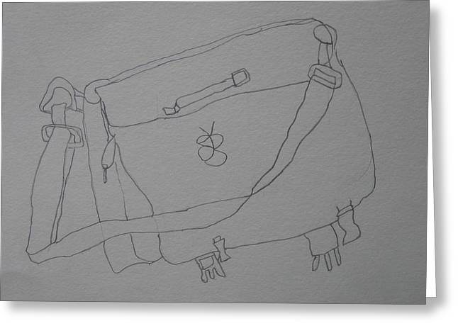 Greeting Card featuring the drawing Satchel by AJ Brown