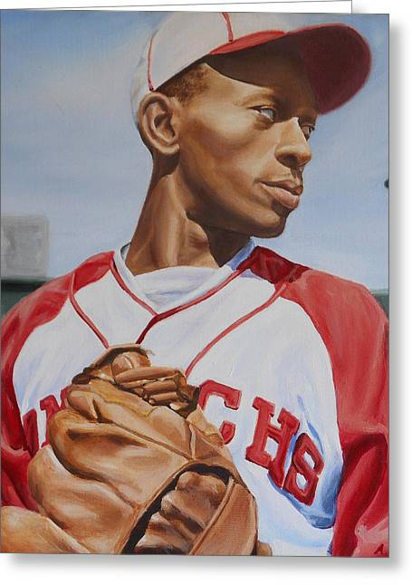 Satchel Paige Greeting Card by Angie Villegas
