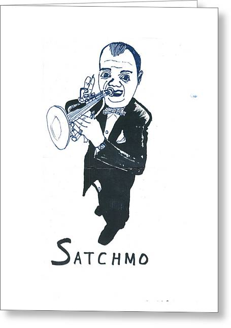 Greeting Card featuring the drawing Satchmo by Don Koester