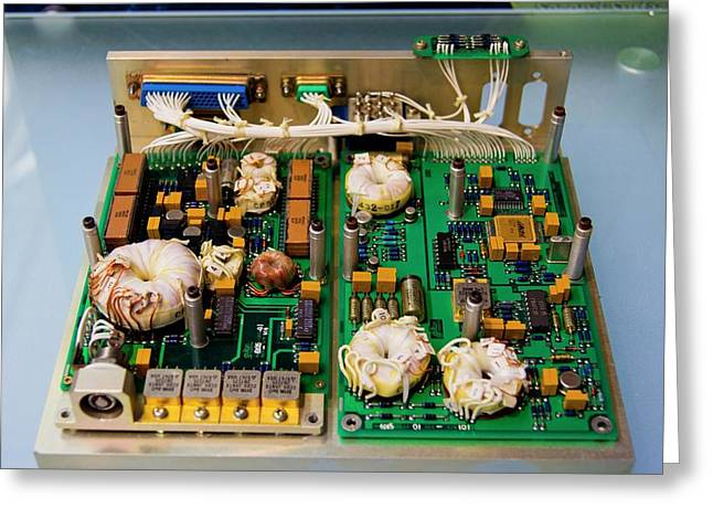 Satellite Circuit Boards Greeting Card by Mark Williamson