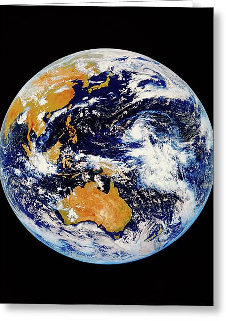 Satellite Image Of Australasia Greeting Card by Kevin A Horgan/science Photo Library