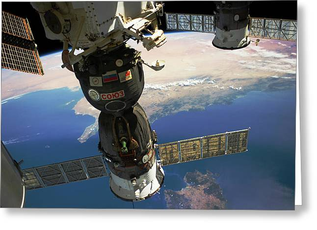 Satellite In Space With View Of Italy Greeting Card