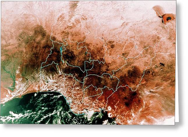 Satellite Mosaic Of Nigeria Greeting Card by Mda Information Systems/science Photo Library