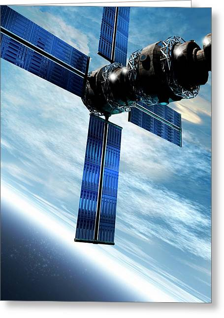 Satellite Orbiting The Earth Greeting Card by Victor Habbick Visions