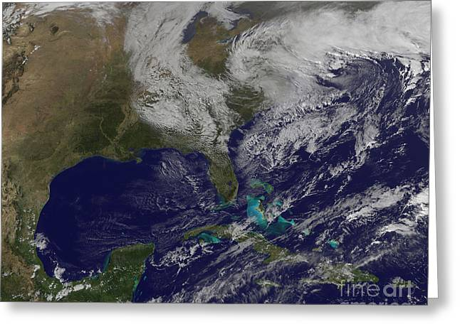 Satellite View Of A Noreaster Storm Greeting Card by Stocktrek Images