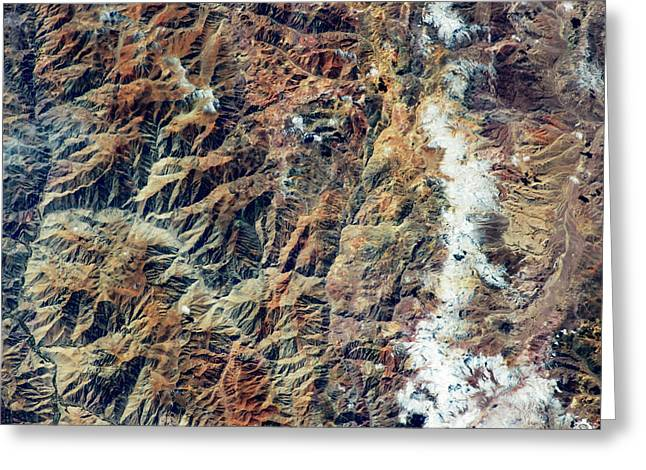 Satellite View Of Andes Mountain Range Greeting Card