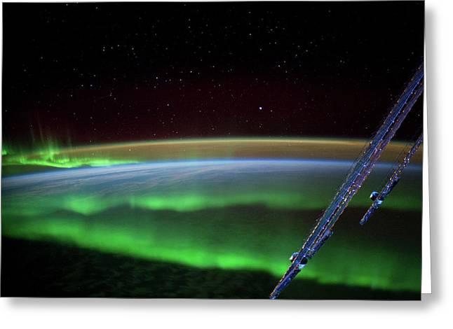 Satellite View Of Aurora Borealis Greeting Card