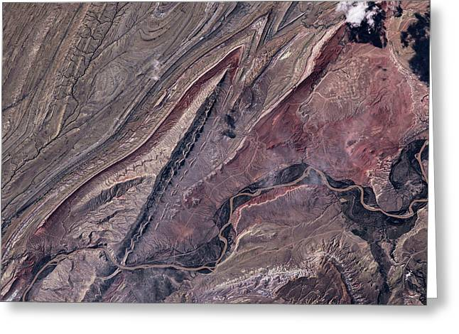 Satellite View Of Big Horn, Wyoming, Usa Greeting Card