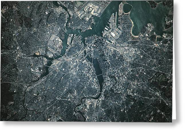 Satellite View Of Boston Greeting Card