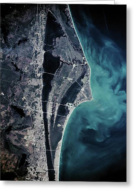 Satellite View Of Cape Canaveral Greeting Card