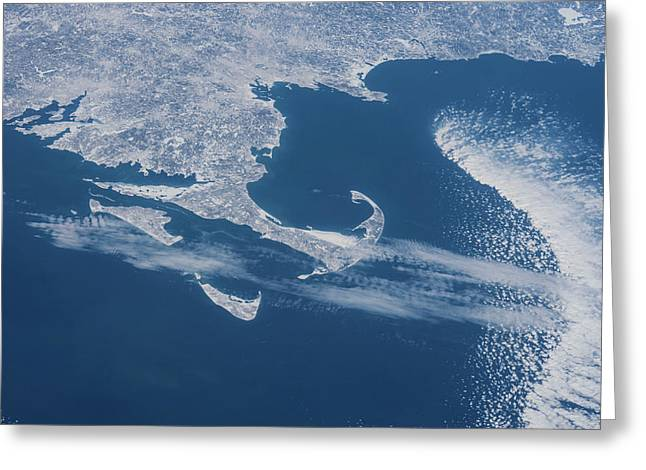 Satellite View Of Cape Cod Area Greeting Card