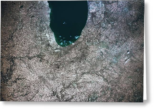 Satellite View Of Chicago And Lake Greeting Card