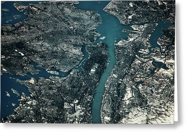 Satellite View Of Cities Of New York Greeting Card