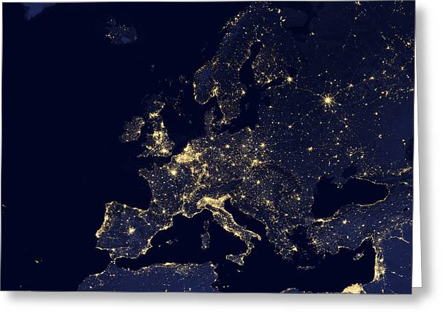 Satellite View Of City Lights Greeting Card