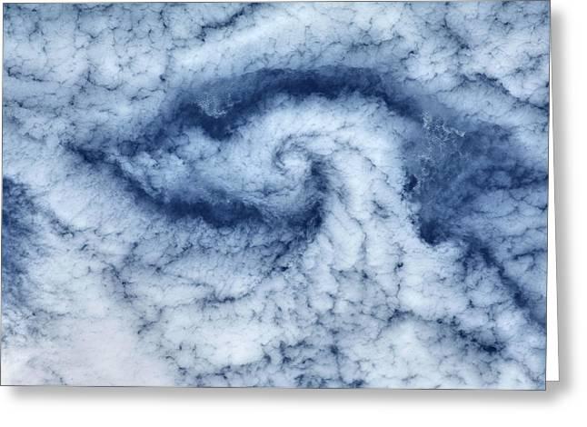 Satellite View Of Cloud Spiral Greeting Card