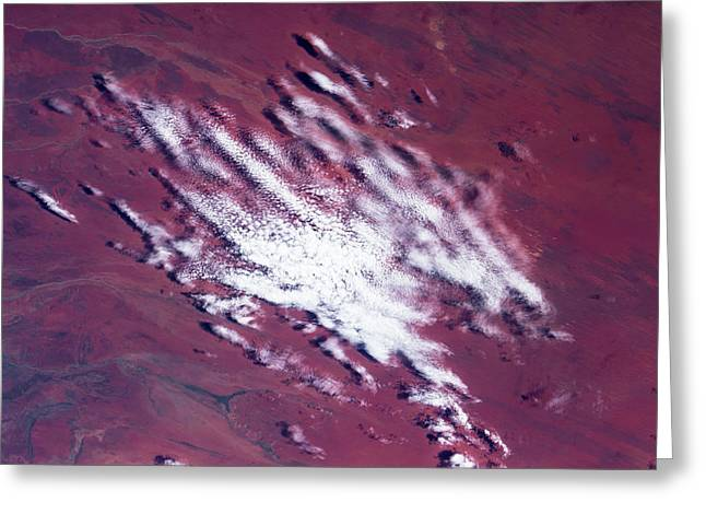 Satellite View Of Clouds Over Desert Greeting Card