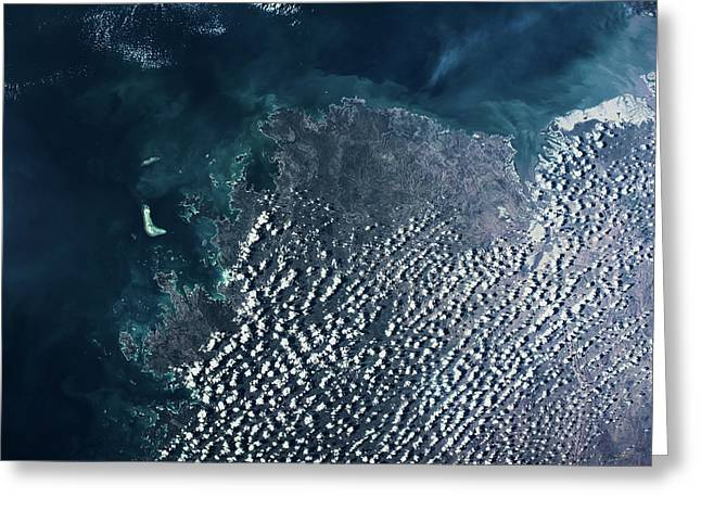 Satellite View Of Clouds Over Drysdale Greeting Card