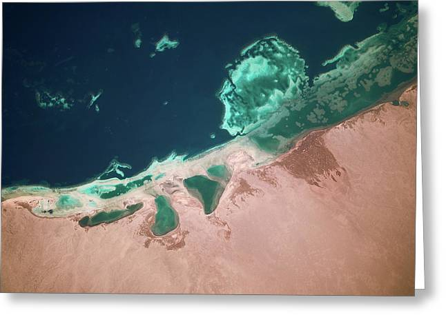 Satellite View Of Coastal Area And Red Greeting Card