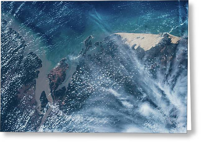 Satellite View Of Coastal Area, Sao Greeting Card