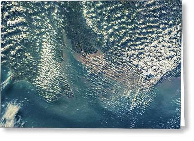 Satellite View Of Coastal Region Greeting Card
