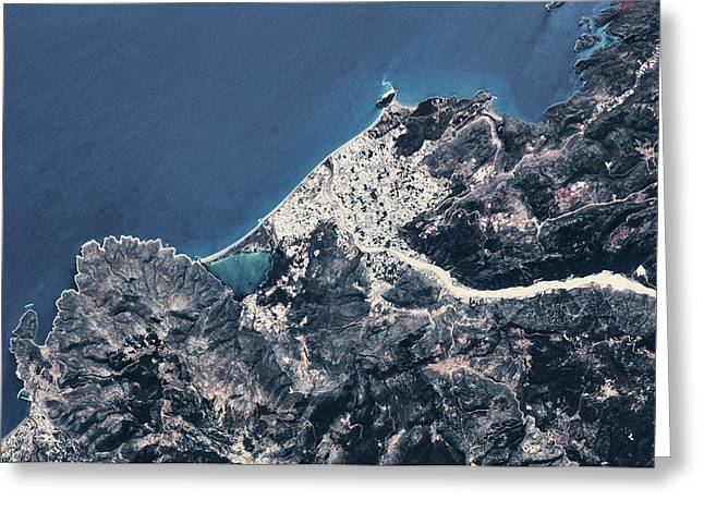 Satellite View Of Coastal Town In Africa Greeting Card