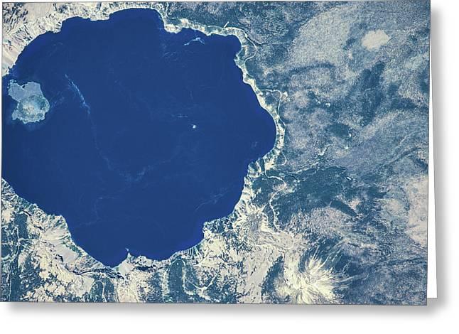 Satellite View Of Crater Lake, Oregon Greeting Card