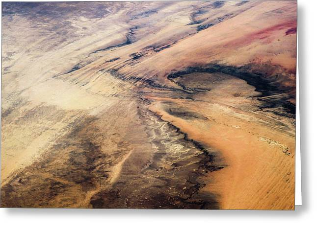 Satellite View Of Desert Area, New Greeting Card