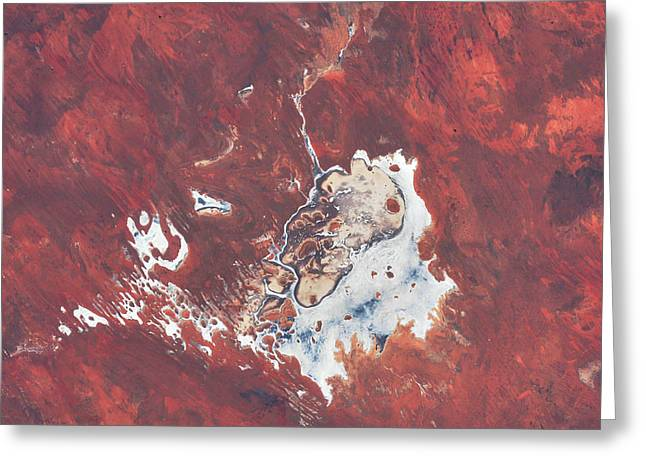 Satellite View Of Desert Area Over Earth Greeting Card